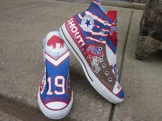 The Bills make me wanna shout! Hand painted Buffalo Bills custom kicks.