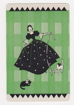 Single ID Deco Big Dress Lady with Cat Mint Vintage Swap Playing Card | eBay