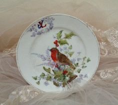 J.Derbyshire/Royal Worcester Handpainted plate/Christmas Robin by MerryLegsandTiptoes on Etsy