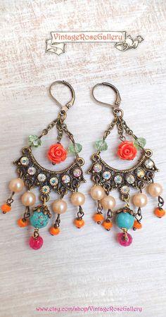 Boho Chandelier Earrings, #VintageRoseGallery #etsy  Frida Kahlo's Earrings, Statement Colourful  Earrings,by VintageRoseGallery