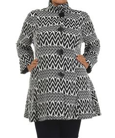 This White & Black Chevron Stripe Button-Up Jacket - Plus by Come N See is perfect! #zulilyfinds