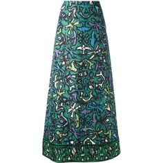 Valentino printed A-line skirt (28.550 ARS) ❤ liked on Polyvore featuring skirts, green, patterned skirts, knee length a line skirt, valentino skirt, silk skirt and floral print a-line skirt