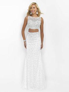 Sheath/Column Sleeveless Scoop Tulle Beading Floor-Length Two Piece Dresses