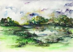 Original Watercolor Painting Summer Landscape Green by CanotStop