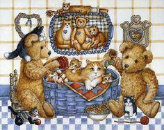 Many cats paintings. Nita Showers - Teddy Bear.