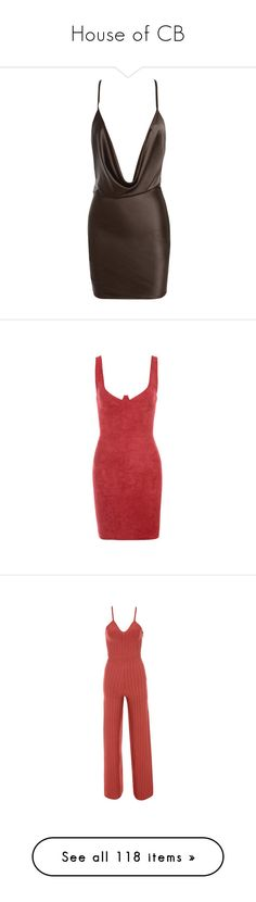 """House of CB"" by deborahsauveur ❤ liked on Polyvore featuring dresses, red stretch dress, stretch bodycon dress, red bodycon dress, bodycon dress, red dress, jumpsuits, jumpsuit, red jump suit and jump suit"