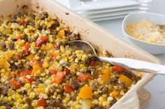 Here's a new way to use all that fresh corn being harvested this time of year. Cut the kernels from the cob to create this Fresh Corn Taco Bake and serve it as a side dish or as a dip with tortilla or pita chips.    |