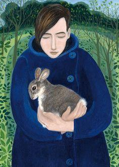 'The Wild Rabbit' By Painter Dee Nickerson. Blank Art Cards By Green Pebble… Rabbit Art, Wild Rabbit, Pet Rabbit, Bunny Art, Naive Art, Figurative Art, Art Images, Collage Art, Folk Art