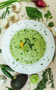 Avocado + Green Heirloom Tomato Gazpacho Soup // DELICIOUS from our friend @Jerry Zhang Zhang Zhang Zhang James Stone