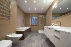 Large modern bathroom with vessel sinks and glassed-in shower - Homeclick Community Bathroom Renovations Brisbane, Bathroom Renovation Cost, Budget Bathroom, Bathroom Interior, Modern Bathroom, Bathroom Makeovers, Bathroom Vanities, Big Bathrooms, Beautiful Bathrooms
