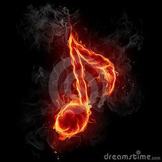 music notes symbols flames   Note symbol. Series of fiery illustrations.