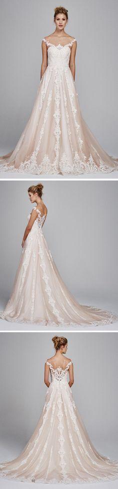 The prettiest wedding dress with a hint of pink || Kelly Faetanini Suri || Spring 2017 Wedding Dresses