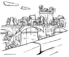 Town build on bridge, fantasy medival