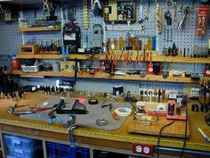 awesome workbench idea for DIY garage, tool organization :: work space :: tool :: tool wall :: storage :: studio :: utility ::