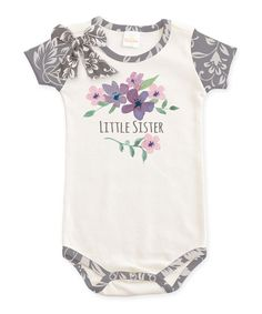 Look at this Ivory & Gray Floral Filigree 'Little Sister' Bodysuit - Infant on #zulily today!