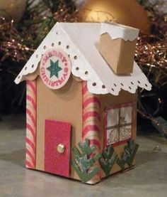 Another gingerbread house made from mini milk carton die. This is a cute roof design, and a chimney.