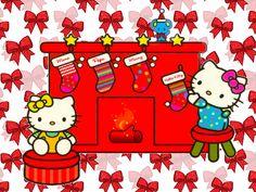 Mis Laminas para Decoupage Hello Kitty and Mimmy Sanrio Hello Kitty, Hello Kitty Cartoon, Hello Kitty Vans, Hello Kitty Items, Hello Kitty Colouring Pages, Cute Christmas Wallpaper, Disney Christmas, Christmas Pictures, Christmas Themes
