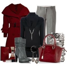 Red wool coat, red purse...maybe gray turtleneck, black bottoms, black boots.