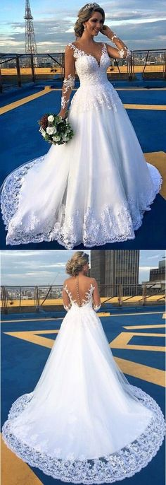 dreamy v-neck wedding dresses with long sleeves train, fashion gowns for beach wedding.