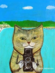 """Photographer Cat of Lamma Island"" Acrylic on Canvas Artist Pepe Shimada Copyright © PEPE SHIMADA All Rights Reserved"