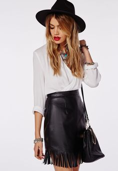 Missguided - Fringing Detail Faux Leather Mini Skirt Black