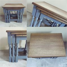 Items similar to Up-cycled Rustic Oak Nest of Tables Industrial Blue/ Chic on Etsy Furniture Refinishing, My Furniture, Refurbished Furniture, Upcycled Furniture, Furniture Making, Painted Furniture, Alcove Cupboards, Nesting Tables, Tv Unit