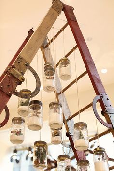 Ladder - can hang anything in jars or other - like votives, christmas ornaments, pot and pan rack, jewelry......