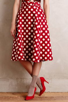 Checkered Midi Skirt - anthropologie.com