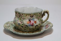 This set is a classic Japanese Moriage ware. Moriage style was adopted in 19th century. Early Antique Moriage Cup and Saucer. This beautiful Moriage set made in Japan of fine porcelain. Moriage is a special type of raised decoration. | eBay!