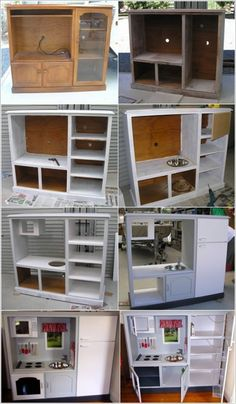 Wonderful DIY Play Kitchen from TV cabinets Repurposed Furniture Cabinets DIY kitchen Play Wonderful Diy Furniture Hacks, Repurposed Furniture, Furniture Makeover, Furniture Stores, Rustic Furniture, Timber Furniture, Kid Furniture, Furniture Websites, Refurbished Furniture