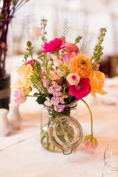 Garden Bouquet in Glass Jar | photography by http://olivialeighweddings.com | floral design by http://www.fairynuff-flowers.co.uk/ | wedding planning by http://alwaysandri.co.uk/