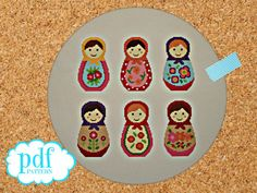 Matryoshka cross stitch pattern. Russian dolls. Needlepoint