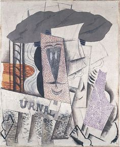 Pablo Picasso - Student with a Newspaper. Paris, late 1913–early 1914. Plaster, oil, Conté crayon, and sand on canvas, 28 3/4 × 23 1/2 in. (73 × 59.7 cm). Metropolitan Museum of Art, New York, USA