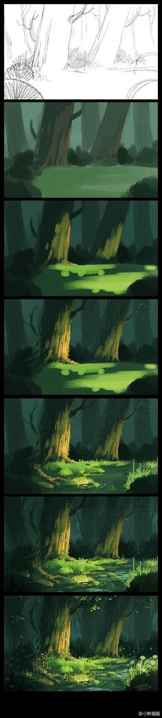 Digital Painting Process; digital art illustration scenery tutorial/pictorial; concept art; Photoshop art