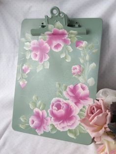 Hand Painted CLIP Board Pink Roses ECS by RoseChicFriends on Etsy, $13.99