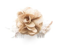 burlap lace wedding hair accessory for bride or bridesmaids mayb could figure out how to make the flowers like this for the bouquet.