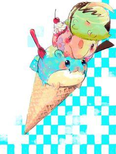 Gulpin, Munna, and Spheal ice cream!