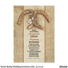 Rustic Burlap Wedding Invitation with Horseshoes