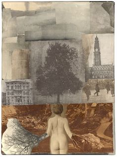 """The Constant Gatherer: James Michael Starr. The Day I Didn't Matter (2007) 12"""" x 9"""" Collage of lithographed book images on canvas"""
