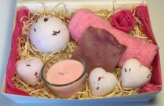 Relaxing Rose Bath Bomb, Handmade Soap and Soy Wax Candle gift set