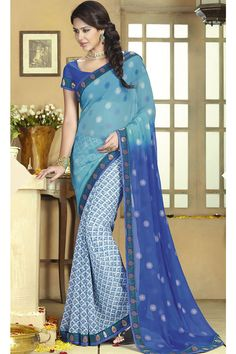 Blue Color #Designer #Printed #Party Wear Saree With Blouse At Skysarees.