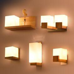 Wooden Wall Lights, Bedside Wall Lights, Led Wall Lamp, Wood Lamps, Wooden Walls, Bedside Lamp, Wooden Bedroom, Wooden Wall Design, Wall Wood