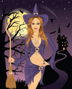 Illustration of Sexy witch holding a broom. Full moon, flying bats and silhouette of a castle on a mountain on the vector art, clipart and stock vectors. Happy Halloween Meme, Halloween Pin Up, Harley Quinn Halloween, Vintage Halloween, Halloween Witches, Witch Drawing, Witch Pictures, Witch Tattoo, Beautiful Witch