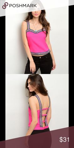 """NWT FUCHSIA TOP SUPER CUTE FUCHSIA TOP!!!   This sleeveless woven top features multicolored embroidered trim and semi-sweetheart neckline.   Fabric Content: 97% POLYESTER 3% SPANDEX Measurements: L: 19"""" B: 32"""" W: 26"""" Tops"""