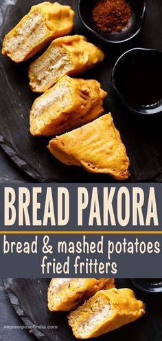 bread pakora is a popular indian snack of bread slices stuffed with spiced mashed potatoes, batter coated and then deep fried. Food Recipes For Dinner, Food Recipes Deserts Healthy Indian Snacks, Vegetarian Snacks, Indian Food Recipes, Healthy Food, Bread Snacks Recipe, Snack Recipes, Cooking Recipes, Veg Recipes, Tea Time Snacks