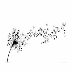 Black Beautiful Music Notation Like Flying Dandelion Flower [dandelion, Taraxacum officinale, Asteraceae]