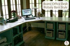 Rustic Office Desk Pottery Barn Style on HoosierHomemade.com . I need a desk like this. Look at all that space!