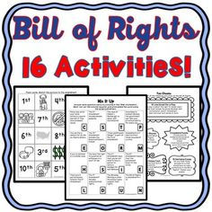 bill of rights activities us constitution puzzles task cards word sorts