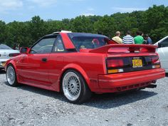 First Car: Red '87 MR2. Not supercharged :/