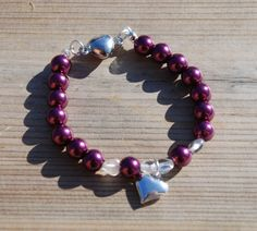 Burgundy glass bead bracelet with hearts, mother's day gift, gift